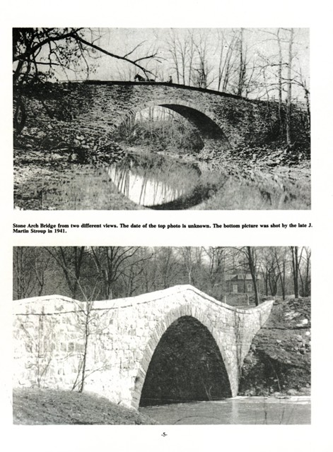 Stone Arch Bridge from two different views.  The date of the top photo is unknown.  The bottom picture was shot by the late J. Martin Stroup in 1941.