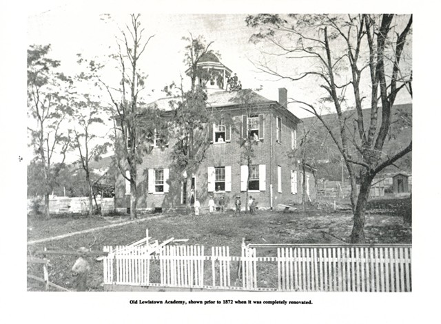 Old Lewistown Academy, shown prior to 1872 when it was completely renovated.