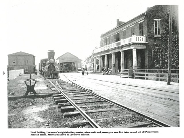 Hotel Building, Lewistown's original railway station, where mails and passengers were first taken on and left off Pennsylvania Railroad Trains. Afterwards known as Lewistown Junction.