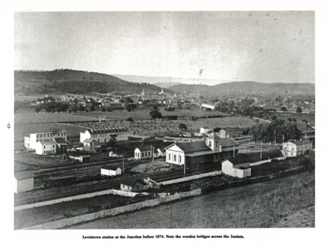 Lewistown station at the Junction before 1874. Note the wooden bridges across the Juniata.