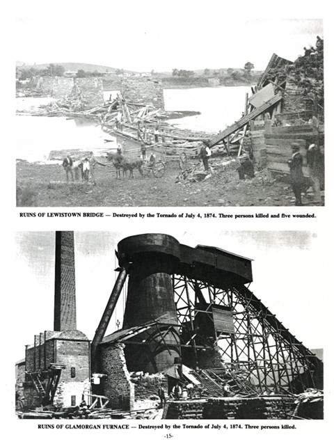 Top: Ruins of Lewistown Bridge- Destroyed by the Tornado of July 4, 1874. Three persons killed and five wounded.  Bottom: Ruins of Glamorgan Furnace- Destroyed by the Tornado of July 4, 1874. Three persons killed.