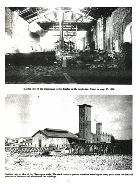 Top: Interior view of the Glamorgan works, located on the south side. Taken on Aug. 28, 1884. 