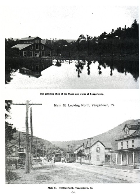 Top: The grinding shop of the Mann axe works at Yeagertown.